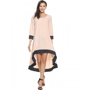 Women Casual O-Neck Long Sleeve Patchwork Pleated Asymmetrical Hem Pullover Dress