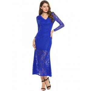 Women V-Neck Long Sleeve Backless Lace Hollow Out Mermaid Hem Maxi Dress With Lining