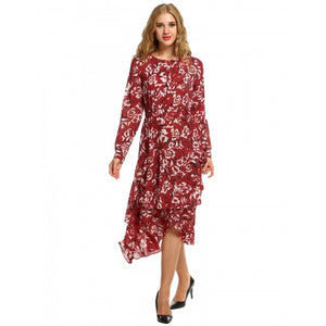 Women Long Sleeve High Waist Floral Button Down Asymmetrical Ruffle Hem A-Line Shirt Dress
