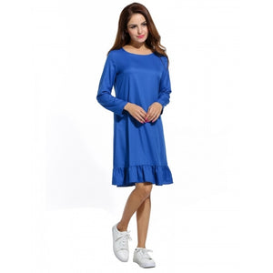 Women Casual O-Neck Long Sleeve Loose Ruffles Hem Dress