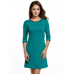 O-Neck 3/4 Sleeve Solid Casual A-Line T-Shirt Dress