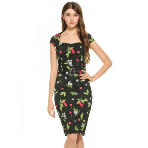 Women Vintage Square Neck Cocktail Party Bodycon Pencil Dress With Belt