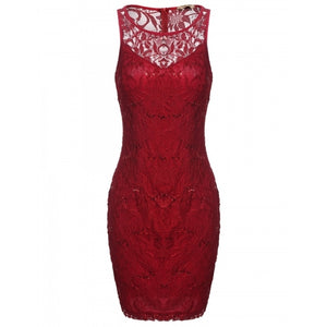 Women Round Neck Sleeveless Hollow Floral Lace Sequins Evening Party Pencil Short Dress