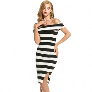Women Casual Sleeveless Striped Off Shoulder Slim Dress