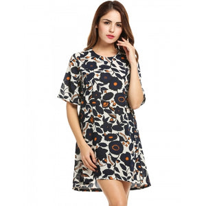 Women Casual Short Sleeve Print O Neck Pullover Shift Dress