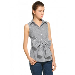 Casual Sleeveless Slim Belt Button Down Collar Striped Shirt