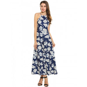 Women Casual Sleeveless Print Spaghetti Straps Backless Maxi Dress