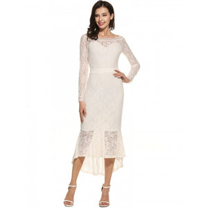 Women Casual Long Sleeve Patchwork Off Shoulder Lace Fishtail Dress