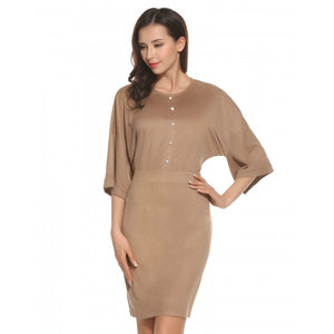 Women Casual O-Neck 3/4 Sleeve Button Zipper Slim Dress