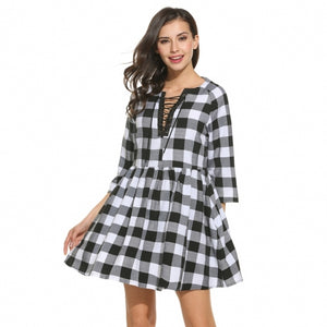 Women Casual V-Neck Three Quarter Sleeve Plaid Lace-up Loose Pleated Pullover Dress