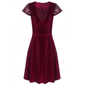 Women Vintage Styles O-Neck Cap Sleeve Lace Patchwork Tunic Lint A-Line Pleated Dress