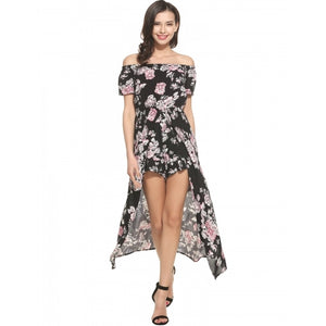 Women Slash Neck Off Shoulder Prints Bodysuit Jumpsuit With Long Split Hem