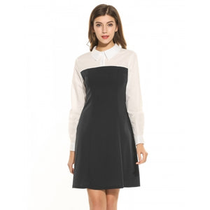 Women Doll Collar Long Sleeve Slim Patchwork MIni Dress