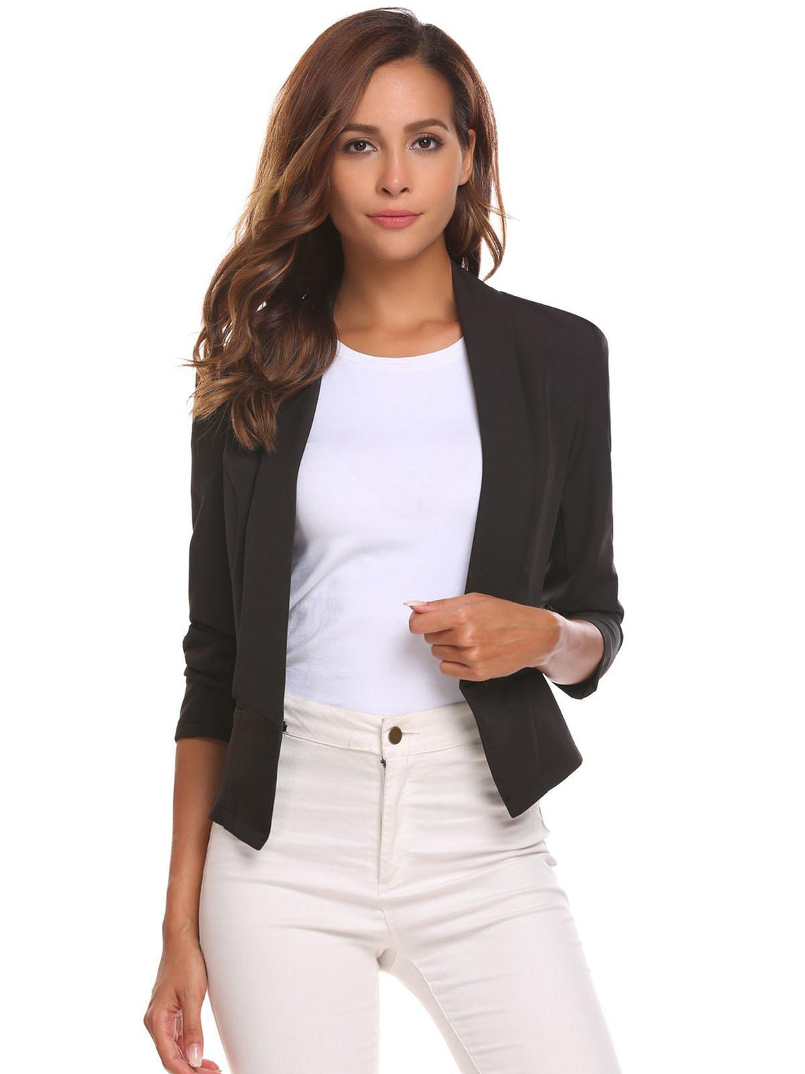 Women Solid Slim Long Sleeve Short Single Button Blazer Jacket Outwear