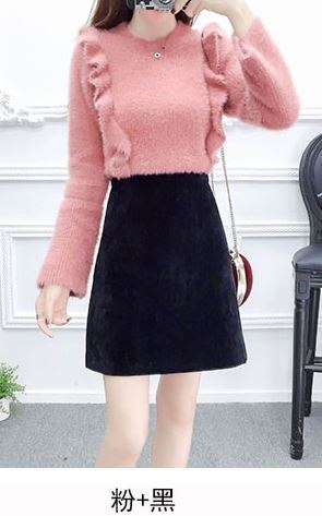 Autumn Outfit Women Ruffle Fur Sweater Comfortable Hippocampal  Velvet Pure Color Bust Skirt Of Tall Waist Thick 2 Pcs Clothing