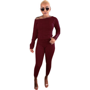 Autumn Winter 2 Piece Set Long Sleeve Sweater Top Pullover and Knitted Long Pants Sweat Suits Women Plus Size Two Piece Outfits