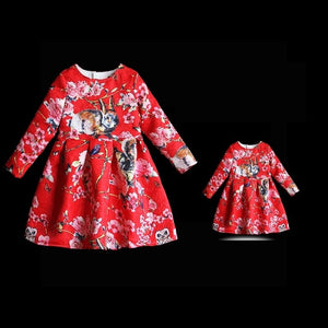 Autumn children warm flano lining dress mother and daughter clothes women girl family matching look outfit mom girl Winter dress
