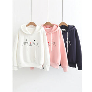 Cat Printing Women Sweatshirt Long Sleeve 2018 Winter Pullover Loose Women Hoodies Sweatshirt Female Dropshipping #FS06