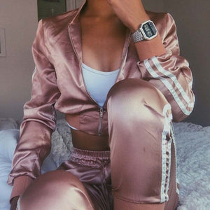 Chic Satin Two Piece Set Tracksuit for Women Elegant Crop Bomber Jackets and Pants Set 2018 Womens Casual Fitness Autumn Outfits