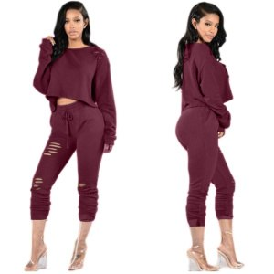 Europe and the fall and winter of 2016 new sexy long-sleeved suit collar jumpsuit long-sleeved hollow out ms two-piece outfit