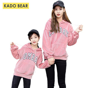 Family Matching Girls Women Hooded Velvet Hoodies Mom Mother Daughter Sweatshirt Kids Autumn Mommy and Me Outfits Winter Clothes