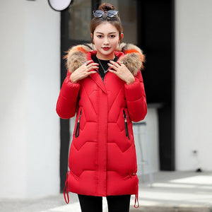 Fashion Big Fur Coat Hooded Warm Cotton Padded Jacket Coat Female Thick Long Down Parkas Outwear 2018 New Winter Jacket Women