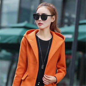 Fashion Student coats Young women Woolen cloth coat  Autumn/winter Hooded tops New product High quality Women Wool coats K2462