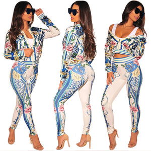 Floral Full Sleeve Sexy Autumn Winter tracksuit Women Set outfit fashion two pieces suits casual Overalls Jumpsuits J1609