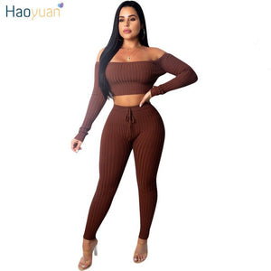Autumn Winter Matching Sets Women Tracksuit Sexy Cub Outfits Knit Tops+Bodycon Pant Sweat Suit Clothes 2 Two Piece Set