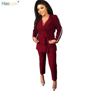 Two Piece Set Women Clothes Sexy Long Sleeve Blazer Tops+Pants Suit Autumn Winter Outfits 2 Piece Casual Matching Sets
