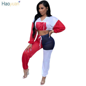 Women Two Piece Outfits Autumn Winter Long Sleeve Crop Hoodies Tops and Pants Sweat Suits Sexy Matching Sets Tracksuit