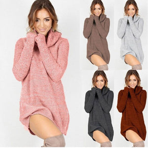 HIRIGIN 2017 Women Fashion Casual turtleneck long knitted Oversize Sweater Dresses long Sleeve Sweaters Dress pullover dress