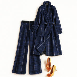 High Quality Winter Women's Long Plaid Lace Up Woolen Jackets and Pants Suit Set 2018 Fashion Office Lady Two Piece Outfits