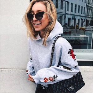 Hot Sale Womens Floral Hoodies Casual Long Sleeve Warm Cotton Hoodies Sweatshirt Autumn Fashion Street Wear Clothes