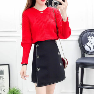 Institute Style Girl Outfit New Winter Korean Fashion Suits Bow Batwing Sleeve Loose Sweaters Twinset Sweater Woolen Skirt
