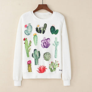 Women Fashion Hoodies Sweatshirt Casual Long Sleeve White Pullover Harajuku Cute Cactus Print For Autumn Winter