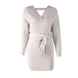 Autumn Winter Sweater Dress Fashion Batwing Sleeve Women Knitted Short Wrap Dress Cardigan Vestidos Daily Outfits Dress