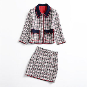 Ladies Fashion Two Piece Outfits 2018 Autumn Winter Women's Clothing Set With Skirt Plaid Woolen Jacket+Skirt Suit Sets