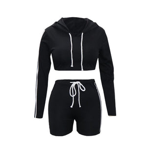 Long Sleeve Hoodie Shorts Women Sets Track Suit Autumn Clothes Hooded Striped Tracksuits Set CA210 2 Piece Outfits for Women