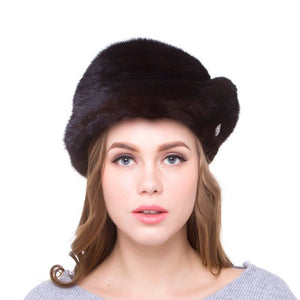Natural mink fur female winter warm hat real fur pure handmade high quality 2018 new discount urban street popular Russia