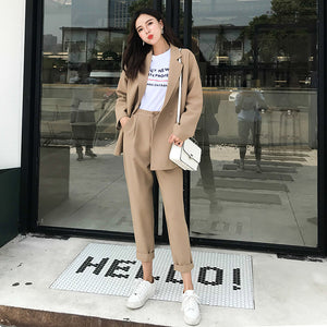 New Autumn Two-piece Casual Trousers Loose Double-breasted Long Blazer Women Two Piece Outfits