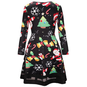 New Fashion Women Autumn Winter Dress Christmas Printed Lace Dress Ladies Long Sleeve Mini Dresses Womens Cloths