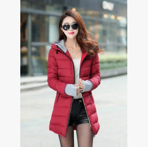 New Parkas Women's Winter Jacket Women Cotton Jackets Hooded Winter Jacket Women Fashion Girls Padded Slim Long Coat Jackets