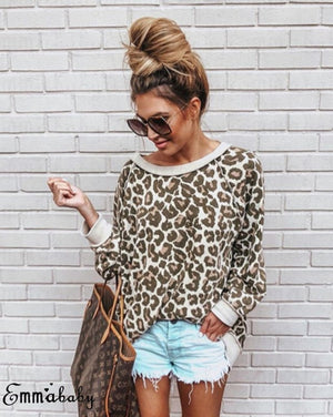 New arrival 2018 Spring Women's Leopard printed hoodies Fashion Women sweatshirt long sleeve o-neck Hoodies Stitching color Tops