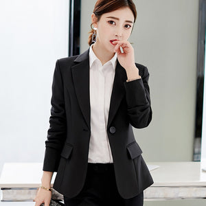 Fashion Women Business Suit Red Formal Long Sleeve Professional Jacket Female  Loose Blazers Outfits 2018 Autumn Winter
