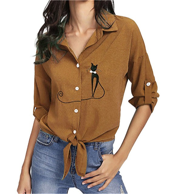 Women Crop Tops Blouses Causal Cat Print Knotted Hem Shirt Long Sleeve