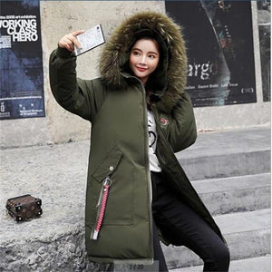 Plus size Winter Jackets Women Embroidery Coats Big fur collar Hooded Down Jacket Warm Long Parka Women Thicken Cotton Jackets