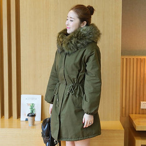 S-4XL New Fashion Women Winter Cotton Jacket Hooded Fur collar Thickening Warm Coat Big yards Slim Long parkas Outerwear 1112