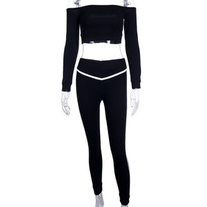 Reflective Striped Two Piece Set Top and Pants Black Bodycon Tracksuit Women Sexy Club Outfits Fall Sweatsuits C76-AG89