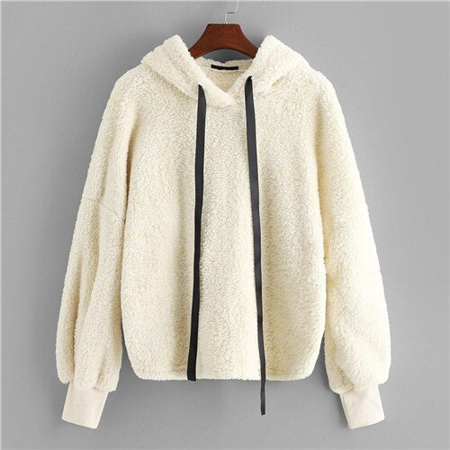 SHEIN Beige Preppy Faux Fur Fluffy Teddy Regular Fit Solid Hoodie Pullovers Autumn Casual Campus Women Sweatshirt